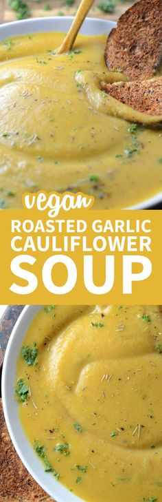 This creamy roasted garlic cauliflower soup is vegan, oil-free, low in fat and carbs and has a delicious, rich, garlic flavour. Easy to make with everyday ingredients, ready in under 30 minutes. Creamy Roasted Garlic Cauliflower Soup http://runningonrealfood.com/creamy-roasted-garlic-cauliflower-soup/