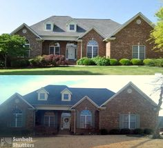 """Before & After adding Arched and Rectangular Top Board & Batten shutters to compliment this brick home. Custom built from Extira composite with 4 vertical boards and 2 battens. Painted """"MarkTwain House Olive."""" Shutters are fix mounted to the brick, but are complimented with cast iron Scroll Tiebacks and cast iron faux hinges."""