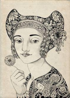Tradition woman allegorical drawing by Sveta Dorosheva