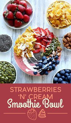 Strawberries 'n' Cream Smoothie Bowl 11 Breakfast Smoothie Bowls That Will Make You Feel Amazing Healthy Smoothies, Smoothie Recipes, Healthy Snacks, Healthy Eating, Healthy Recipes, Breakfast Bowls, Breakfast Recipes, Raspberry Smoothie Bowl, Clean Eating
