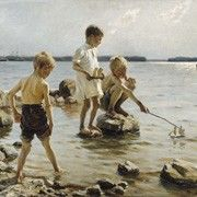 Albert Gustaf Aristides Edelfelt July 1854 - 18 August was a Finnish painter born in Porvoo, Finland. His father Carl Albert was an architect. Art Plage, Google Art Project, La Rive, Nordic Art, Boys Playing, Gustav Klimt, Love Painting, Renoir, Vincent Van Gogh