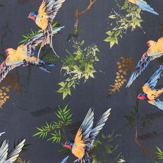 Navy Mediterranean Swallows - Navy floral cotton stretch in a beautiful print. Would make a very striking pair of Hero Trousers or a stunning Miranda or Kate Dress. Kate Dress, Swallows, Trousers, Sew, Navy, Floral, Fabric, Cotton, Painting
