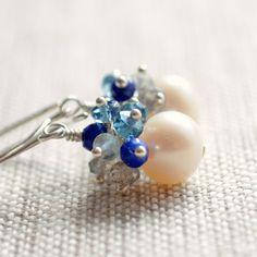 NEW Cluster Earrings Labradorite London Blue Topaz by livjewellery, $90.00