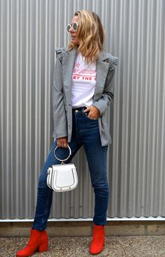 HOW TO SHOP MY LOOKS WITH LIKETOKNOW.IT - Jaclyn De Leon Style + fall outfit inspiration + red boots + blazer with ruffle detail + edgy street style look + white handbag + sunnies + vintage tee + casual cool mom style