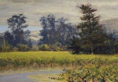 Waiting for Sunshine pastel landscape painting by Clark Mitchell Pastel ~ 10 x 14 pastel paintings, original art, art for sale, landscape paintings, California paintings, plein air, plein air paintings, Sonoma County, California vineyards, California wine country, landscape paintings for sale, landscape painters, nature paintings,