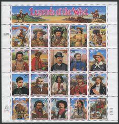 United States Scott #2869 (18 Oct 1994) pane of 20 stamps (a-t): Legends of the West…  Designs: a, Home on the Range. b, Buffalo Bill Cody. c, Jim Bridger. d, Annie Oakley. e, Native American Culture. f, Chief Joseph. g, Bill Pickett. h, Bat Masterson. i, John C. Fremont. j, Wyatt Earp. k, Nellie Cashman. l, Charles Goodnight. m, Geronimo. n, Kit Carson. o, Wild Bill Hickok. p, Western Wildlife. q, Jim Beckwourth. r, Bill Tilghman. s, Sacagawea. t, Overland Mail.
