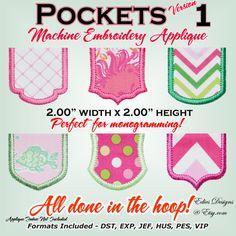 "Pockets 2 x 2 - Applique Pocket - Machine Embroidery Applique Pocket 2"" x 2"""