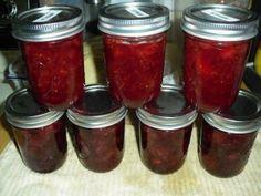 Fresh strawberry jam and strawberry/cherry jam