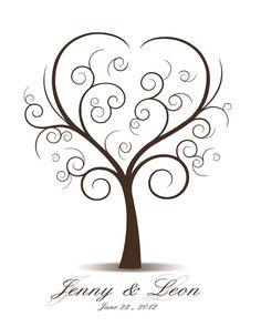 Wedding Tree Guest Book Thumbprint Printable di CustombyBernolli