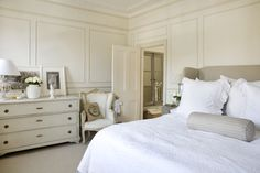 This is happening this spring!! :) White moulding walls and white bed!!!
