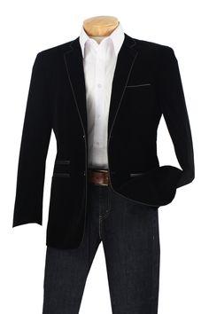 Slim Fit Velvet Blazer by Vinci Mens Black Color 2 Button Jacket BS-02