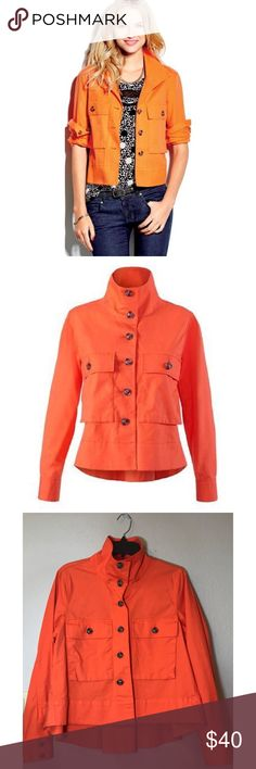 """CAbi Resort Jacket in (Tiger lily) Orange CAbi Resort Jacket Tiger lily Orange Size Medium. Button-Down, Button Sleeves, Hi-Lo Hem (back is longer). Very good pre-owned condition, only flaw is a couple of tiny little holes near the neck area. Please see pictures before purchasing. 24 1:4"""" armpit to armpit. Approx. 20"""" Front, 23"""" Back. CAbi Jackets & Coats Utility Jackets"""