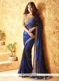 Sophisticated Black And Navy Blue Shaded Saree
