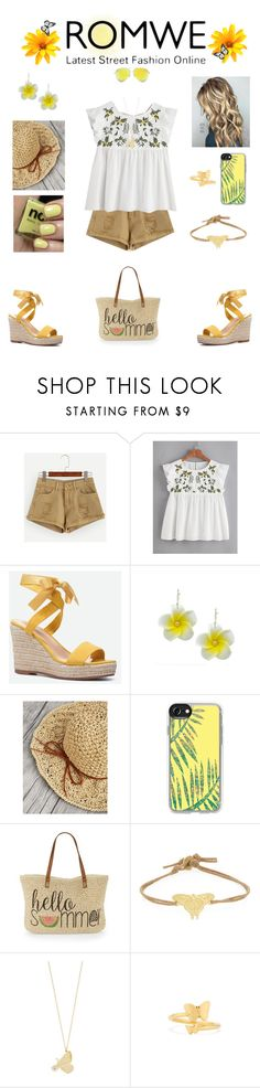 """""""ROMWE Flower Top"""" by hopesparksembers ❤ liked on Polyvore featuring JustFab, ncLA, Casetify, Straw Studios, Me&Ro, Alex Monroe, Alex and Ani and Victoria Beckham"""