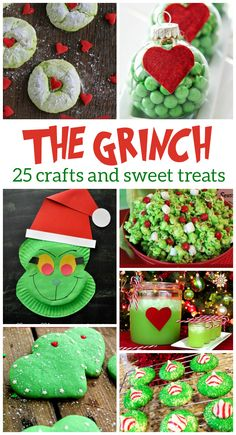 25 Grinch Crafts & Sweet Treats How The Grinch Stole Christmas is one of our favorite holiday stories. Here's 25 Grinch Crafts & Sweet Treats we love, all inspired by the lovable Grinch! Grinch Christmas Decorations, Grinch Christmas Party, Grinch Party, Christmas Goodies, Christmas Treats, Winter Christmas, Holiday Fun, Christmas Holidays, Holiday Movies
