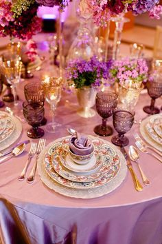 Purple tablescapes with pretty patterned china lent an upscale tea-party feel to this @Four Seasons Resort and Club Dallas at Las Colinas wedding.