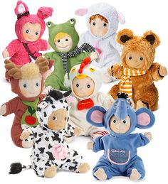 Rubens Barn Ark Soft Dolls in Animal Outfits