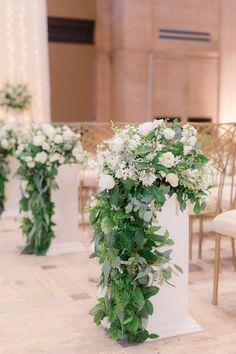 Wedding Flower Arrangements Cascading Greenery and White Flower Aisle Arrangements - Church Flower Arrangements, Wedding Flower Arrangements, Floral Arrangements, Wedding Bouquets, Cascading Flowers, Aisle Flowers, Floral Wedding, Wedding Flowers, Wedding Arches