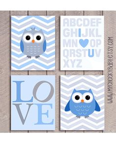 Owl Nursery Prints Baby Boy Nursery available at www.mycheekybaby.etsy.com