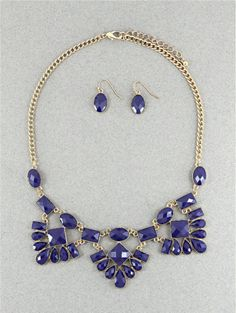 Navy Blue Necklace Bib Necklace J Crew Inspired by SophiaJewels, $24.00