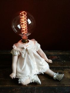 One-of-a-kind Upcycled Repurposed Shirley Lost Her Temple Steampunk Creepy Doll Art Lamp w/Vintage Edison Style Filament Globe Light Bulb. Apprx 9