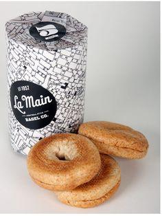 Monochrome bagel packaging