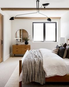 Studio McGee (@studiomcgee) • Instagram photos and videos Living Room Designs, Living Spaces, Wooden Beams Ceiling, Basement Guest Rooms, Wooden Closet, Bunk Rooms, Bedrooms, Fall Color Palette, Modern Light Fixtures