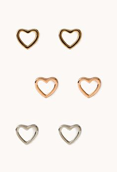 Open Heart Stud Set | FOREVER21 - 1000088482~ I fancy this.