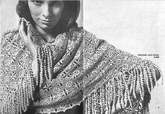 1970s Crochet Shawl with fringe Lace Shawl by CrochetPatternRewind, $2.50