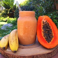 Delightful smoothie is banana, papaya, and dates with water. High in iron, potassium, fiber, vitamin A, lowers cholesterol, and no it's not too much sugar. Fruit is easily digested by the body, cleansing you digestive tract along the way and it's sugars are full of nutrients you need to feel your best!