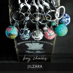 JILZARAH's handmade clay bead key chains. $13.99 http://jilzarah.com/shop/collections/keychains/single-bead-key-clip-with-charm/