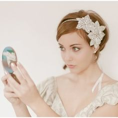 short hair bride with wedding headband by erica elizabeth design