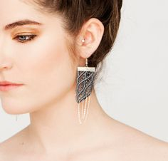 Lace earrings  Parang Rusak  Grey & silver by thisilk on Etsy, $38.00
