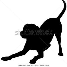 Dog at play Silhouette Clip Art | Labrador Retriever Silhouette Stock Photo 46687108 : Shutterstock