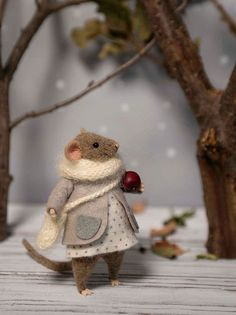 Woolen mouse , Christmas mouse , Mouse with apple , Winter mouse , Christmas Decoration , Art Doll , Waldorf animal , Eco-friendly