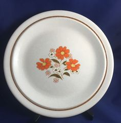 Mid Modern charger cutting plate Color Stone Orange flowers