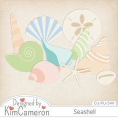 Ocean Seashells - Layered PSD Templates with PNG by Kim Cameron for Digital Scrapbooking #CUDigitals