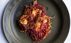 Crisp and golden: beetroot and goat's cheese 'rosti'.