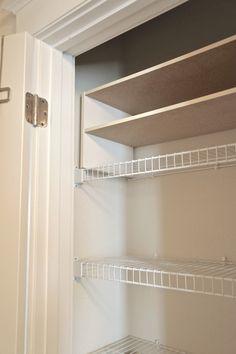 Slip in shoe shelving for additional shelving in linen closet.