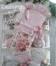 A Beautiful Christmas Stocking 409 Cottage Pink Ruffled Roses & Lace By Lynn-pink, roses, shabby, chic, ruffles, Victorian, Vintage, Lynn, Barkcloth, PINK, cottage, white, Brundage,Stocking, jewels,