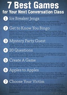 Excellent ideas for #class! #conversation #games #esl #efl #tefl    http://busyteacher.org/13340-conversation-class-7-best-games.html