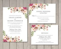 Printable Wedding Invitation RSVP and Details Card in Rustic