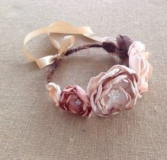 Headband Fabric Flower Headbands, Shabby Chic Headbands, Bohemian Headband, Diy Baby Headbands, Vintage Headbands, Baby Bows, Fabric Flowers, Cat Ears Headband, Rose Headband