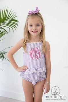 6a4948d286507 Seersucker and Lace One Piece Monogrammed Swimsuit. Girls One Piece  SwimsuitBikini GirlsPreteen FashionKids ...