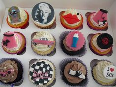 50's cupcakes <3 Snack Recipes, Snacks, 50th Party, Party Themes, Party Ideas, Cake Decorating, Bakery, Birthday, Desserts