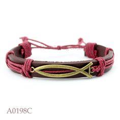 (10PCS/lot) ANTIQUE BRASS Christian Jesus fish Ichthys Ichtus CHARM Adjustable Leather Cuff Bracelet Friendship Jewelry