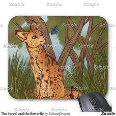 The Serval and the Butterfly Mouse Pad #serval #butterfly #cat #africa #safari