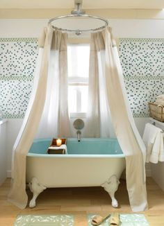 Maybe A Shower Curtain Like This For Our Claw Foot Tub