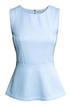 peplum from H&M Light Blue Blouse, Light Blue Top, Light Blue Shirts, Blouse Styles, Blouse Designs, Peplum Shirts, Peplum Tops, Sleeveless Tops, Senior Photo Outfits