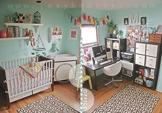 File this under organization and nursery, when you're short on space and the room has to double in its purpose.